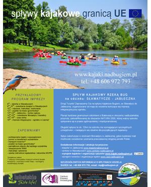 Plakat oferta spływu na odcinku Sławatycze-Jabłeczna
